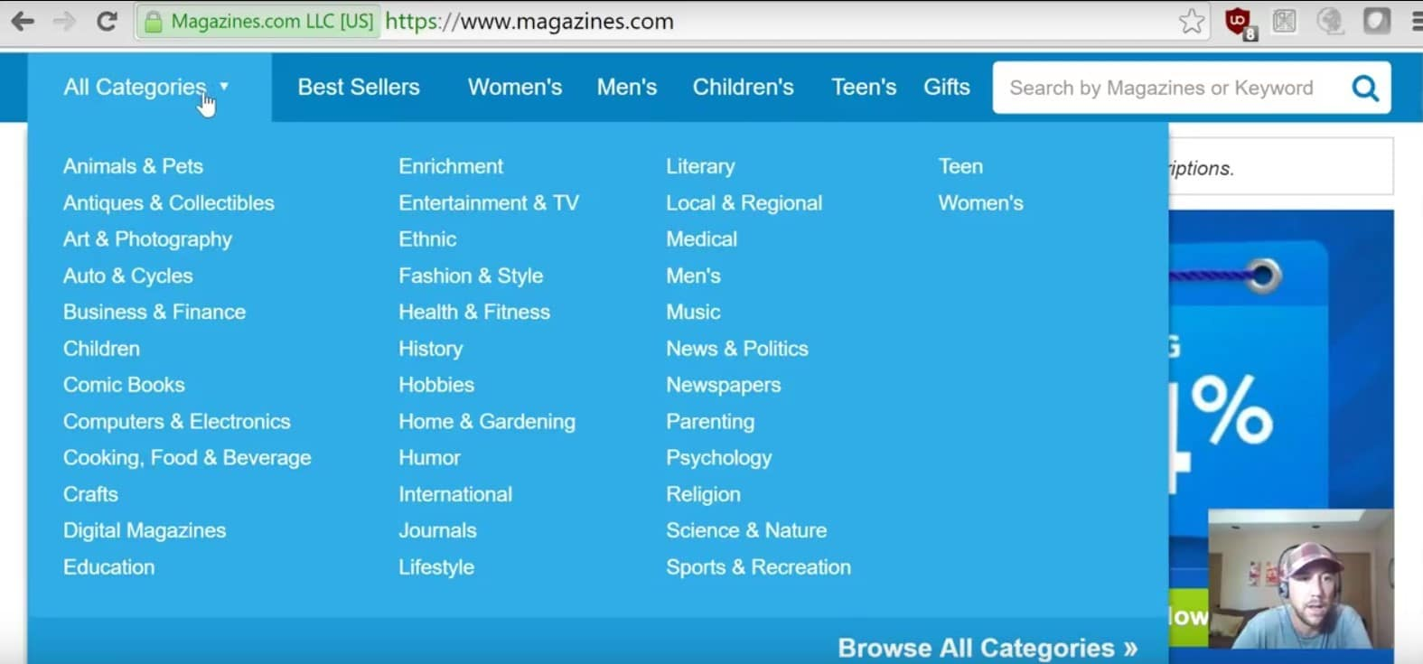 Niche website market research on magazines.com step 1