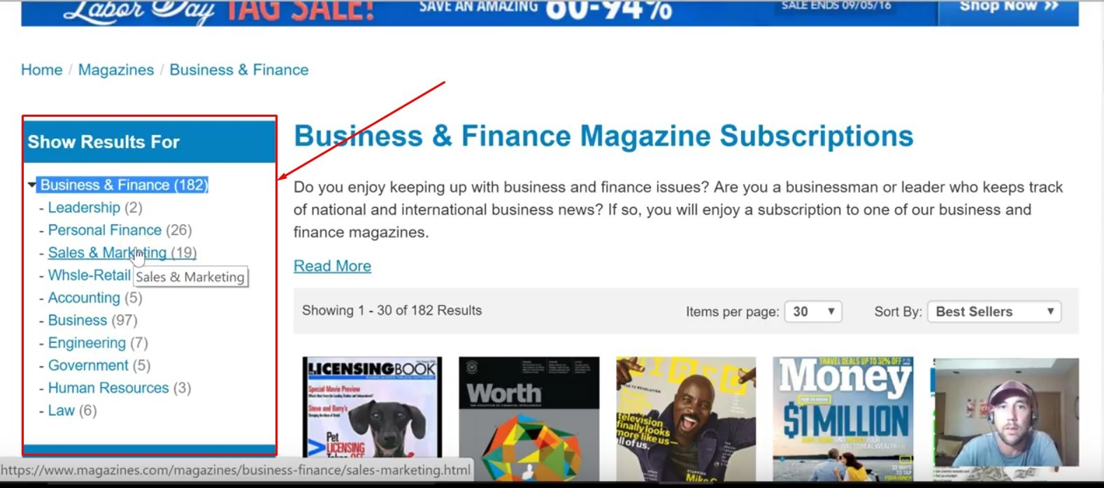Niche website market research on magazines.com step 2