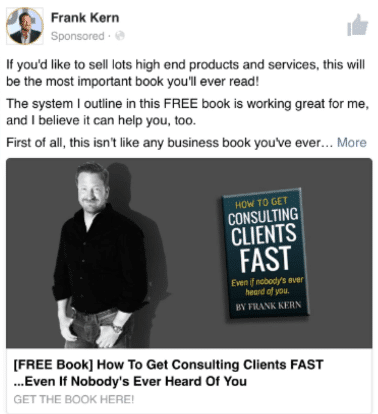 frank kern standing with a book in his facebook ad