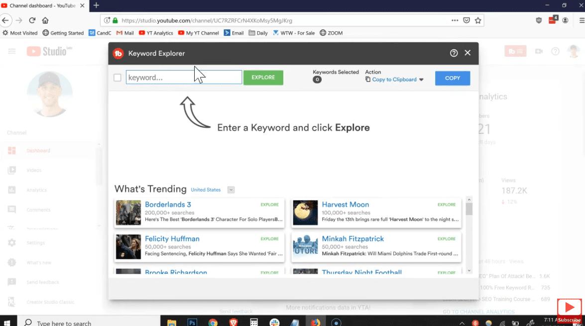 Tubebuddy keyword explorer how to