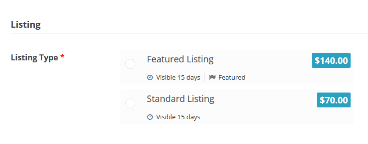 featured listing vs standard listing