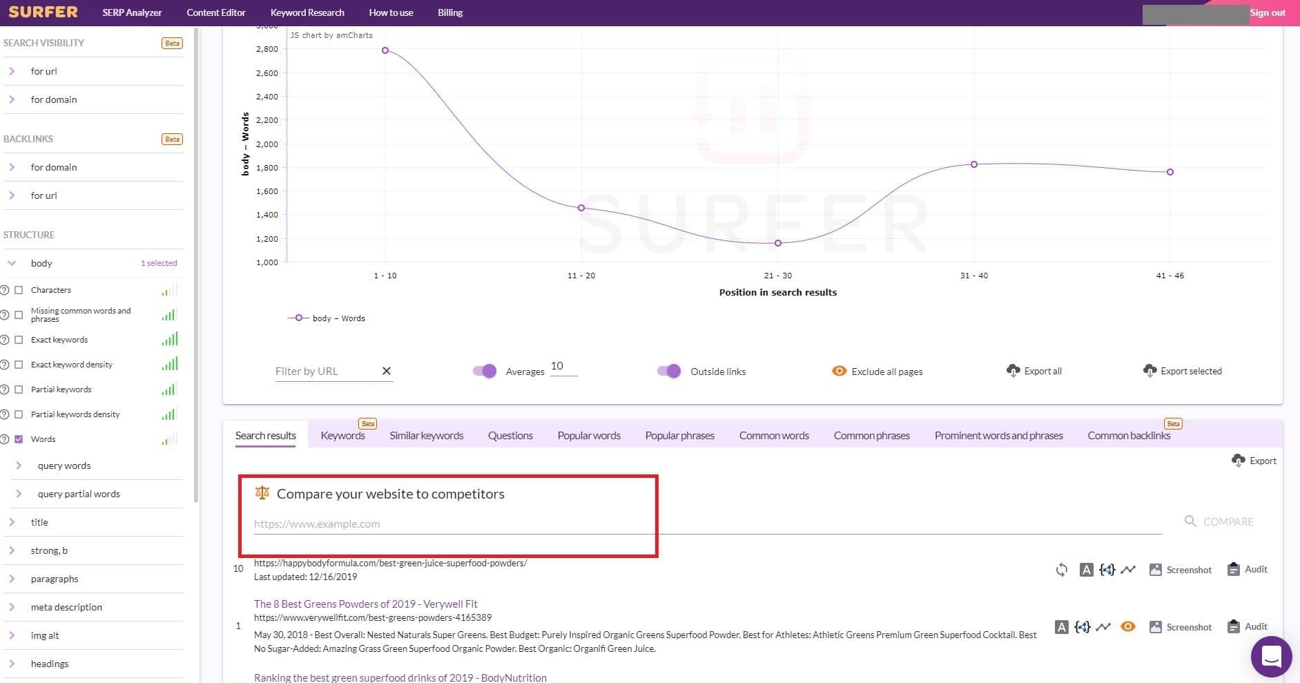 Compare website to competitors